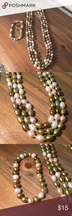 """Genuine Hawaiian Fresh-Water Pearl Set These pearls are from Hawaii. They're freshwater pearls and they're real, which gives them their unique shapes and colors. The pearls are green, white, champagne and brown. One continuous strand, no clasps, but can be doubled up or tripled up. Measures 65"""" around. Bracelet is stretchy, though may need restrung at some point. Measures 7"""" around. Necklace is knotted between each Pearl, bracelet is not. Jewelry Necklaces"""