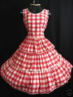Red And White Gingham Dress Featuring Ricrac Trim A Full Skirt Measurements Are Chest Waist Hips Jan Bourne Barn Dance