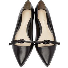 3.1 Phillip Lim Black Friendship Knot Martini Flats ($385) ❤ liked on Polyvore featuring shoes, flats, ballerina flat shoes, pointed toe ballet flats, black ballet shoes, black flat shoes and black ballerina flats