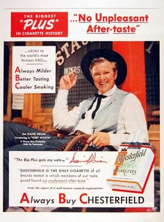 "David Brian, star of Warner Brothers' ""Fort Worth"" - 1951 Chesterfield Cigarettes magazine ad."