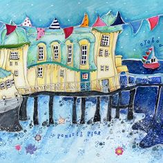 Penarth Pier - Susie Grindey Small Drawings, City Art, South Wales, Beautiful Paintings, Great Britain, Arts And Crafts, Beach Huts, Travel Stuff, Bird
