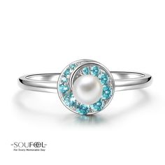 Soufeel Blue Whirlpool Pearl Ring 925 Sterling Silver For Every Memorable Day