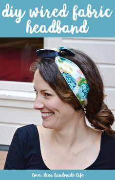DIY headband with wire DIY Wired Fabric Headband from Dear Handmade Life Sewing Headbands, Fabric Headbands, Handmade Headbands, Headband Wrap, Wire Headband, Headband Hair, How To Make Headbands, Headbands For Women, Headband Pattern