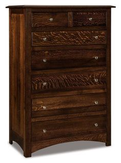 Amish Finland Seven Drawer Chest of Drawers Solid wood bedroom dresser with seven drawers for storage. Custom made. Choice of wood and stain. #bedroom #dresser #bedroomstorage #bedroomdresser