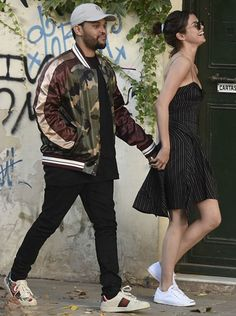 The Weeknd and Selena Gomez enjoy a date in Buenos Aires http://creativegentleman.com/the-weeknd-wears-valentino-jacket-and-gucci-sneakers-in-buenos-aires/ #theweeknd #selenagomez #valentino #gucci #izabelmarant