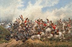 """""""Ces terribles chevaux gris"""" (These terrible gray horses) as Napoleon designated the Royal Scots Greys at Waterloo, Orlando Norie Military Diorama, Military Art, Military History, Military Uniforms, Military Weapons, Waterloo 1815, Battle Of Waterloo, Dragons, English Army"""