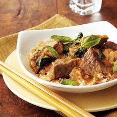 Thai Red Curry Beef | MyRecipes.com  Substitute cauliflower rice for jasmine rice and maple syrup for the brown sugar.
