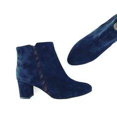 Botine din piele, botine albastre, pantofica.ro