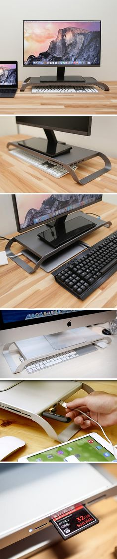 Designed to minimize clutter on your tabletop, and also the clutter under your desk, where the CPU gathers cobwebs, the ProStation 3.0 acts as a stand for your monitor, while also providing a dedicated space to stow away your mouse and keyboard. Made out of durable steel, the super slim ProStation comes with three types of card readers and a whopping six USB adapters. The ProStation gives you the laptop experience on your desktop!