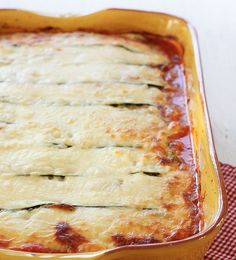 Replace Lasagna Pasta with thin slices of Zucchini to create this delicious, lower carb (gluten-free) Zucchini Lasagna that's loaded with vegetables