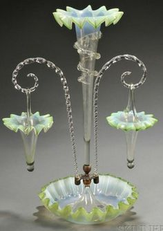 Victorian Green Opalescent Glass Epergne With White Cased Rims To Ruffled Edges, The Central Trumpet Vase With Applied Clear Spiral Centering   Scrolled Canes Supporting Hanging Baskets   c.1875-1900  -  Prices4Antiques