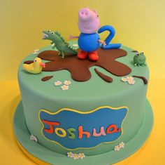 A cake for my friend's little boy's birthday who wanted George Pig and his dinosaur, from Peppa Pig. I used chocolate fondant to make the big muddy puddle :) Tarta George Pig, George Pig Cake, George Pig Party, Peppa Pig Birthday Cake, First Birthday Cakes, Birthday Boys, Peppa Pig Cakes, Birthday Ideas, Bolo Fack