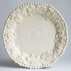 Flower Dinner Plate--  Frances Palmer Pottery