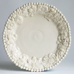 Flower Dinner Plate--  Frances Palmer Pottery