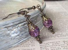 Victorian Inspired Purple Earrings Victorian by LeParisMetro, $14.00