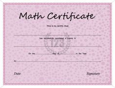 School Certificate Archives - Page 2 of 3 - Free & Premium 123 Certificate Templates Printable Certificates, Certificate Templates, Math Competition, School Certificate, Templates Free, Maths, Students, Free Stencils