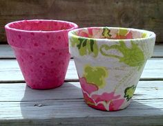 Decorating fabric and clay pots with Mod Podge