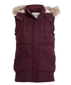 Dark Purple (Purple) Purple Hooded Micro Fibre Gilet | 254550957 | New Look