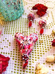 OOAK RED WHITE black and pink diamonte hand by TheEnglishEclectic, $48.00