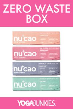 We're so excited to have teamed up with the nu company this month to bring their tasty nucao bar to our Zero Waste box! Ready to begin your zero waste journey? Use the link to check out the other amazing products from this month's box. Neon Bag, Reusable Coffee Cup, Raw Cacao, Hemp Seeds, Zero Waste, Journey, Tasty, Bar, Link