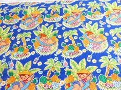 Michael Miller Luau Lulu Fabric, Blue Background, Beach Girl, Pineapples, Palm Trees Hawaiian Print, 46 inches wide x 1 2/3 yards Plus,