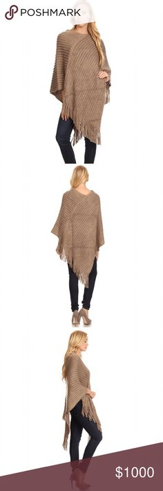 Coming Soon ~This Week Like to be Notified Gorgeous Boho Poncho Knit long body in a pullover style with a crew neck, an asymmetrical hem and fringe detailing. Material; 100% Acrylic Size :One Size              No Trades. Price is firm unless bundled. 10% off 2 or more items or 20% 3 or more items. GlamVault Sweaters Shrugs & Ponchos