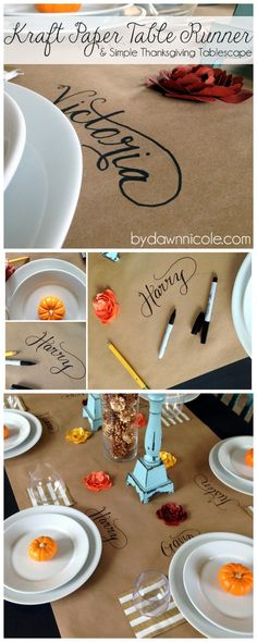 Easy Kraft Paper Table Runner & Simple Thanksgiving Tablescape or even Kids Table for the Holidays. Hosting Thanksgiving, Thanksgiving Parties, Thanksgiving Tablescapes, Thanksgiving Crafts, Thanksgiving Decorations, Thanksgiving Name Cards, Friendsgiving Ideas, Thanksgiving Table Runner, Holiday Fun