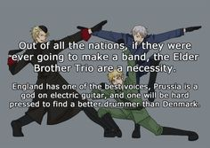 Yes. Someone needs to do an episode where they actually form a band and all the other nations are just like wow