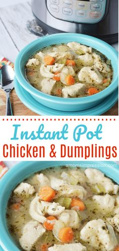 This Homemade Instant Pot Chicken and Dumplings recipe is quick and easy  to make. Filled with corn, chicken, celery and biscuits this comfort  food recipe is on the table in less than 30 minutes! #Instantpot  #chicken #chickenanddumplings #comfortfood #easyrecipe #30minutemeals  #pressurecooking