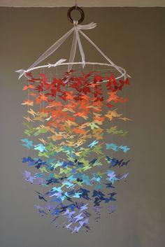 Butterfly mobile, rainbow chandelier or nursery mobile in rainbow colors card stock --- Butterfly babyshower, handmade mobile or baby gift door SierGoed op Etsy
