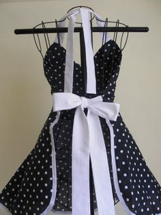 French Maid Apron Pin-up Retro Style Black by ArtsyCraftsyBoutique