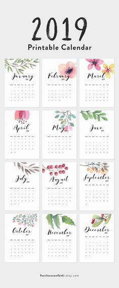 2019 Printable Calendar, Floral Calendar 2019  Give yourself a fresh start for this year 2019 with this modern calendar, available in 4 sizes: 5x7 inches (12,7x17,78cm), A4,USLetter and A5 - PDF Format This calendar is instantly downloaded to your computer after purchase. Please note that this is a digital file and not a printed piece.  Printable Calendar 2019, Floral Calendar Printable Planner 2019 PDF, A4 UsLetter A5 Calendar Printable Wall Calendar Flower Instant Download