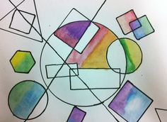 shapes geometric overlapping math shape arts grade line projects colour abstract elementary paintings watercolor geometry lessons organic designs elements patterns