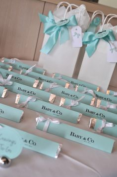Tiffany Blue Baby Shower from Totes and the City, custom candy favors from Toblerone Chocolate bars with FREE printable - click to view the full details