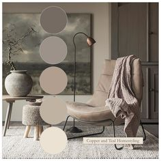 This colour palette was created with Farrow and Ball's red-based neutrals for a warm, contemporary look. Photo credit to Woonhuis in the Netherlands for a beautiful room. Warm Living Room Colors, Interior, Living Room Warm, Living Room Design Colour, Home Decor, Room Decor, Contemporary Living Room Colors, Color Palette Living Room, House Colors