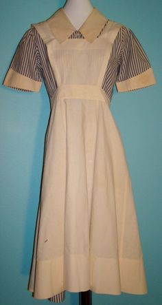 Great Vintage 1940's Blue and White Stripped Nurses Uniform w Apron in Clothing, Shoes & Accessories | eBay