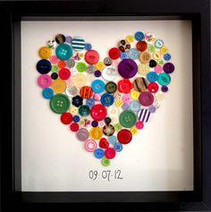 Heart Shaped Button Wall Art. $40.00, via Etsy.