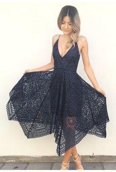 Black Lace Deep V-neck Mid-Calf A-line Prom Bridesmaid Dress,braces dress,Homecoming dress,Sexy dress