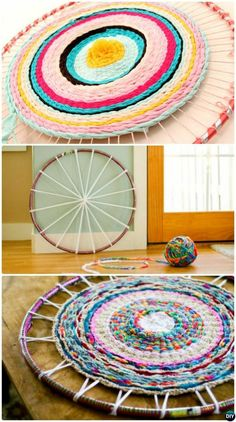 20 No Crochet DIY Rug Ideas Projects Instructions DIY Hula Hoop Rug No Crochet DIY Rug Ideas Instructions The post 20 No Crochet DIY Rug Ideas Projects Instructions appeared first on Do It Yourself Fashion.tying hula hoop rug carpet Source by N Crochet Diy, Crochet Ideas, Crochet Tutorials, Weaving Art, Loom Weaving, Rug Loom, Hula Hoop Rug, Hula Hoop Weaving, Diy Deco Rangement