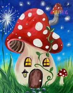 Mushroom House Painting - Step By Step Painting With Tracie Kiernan