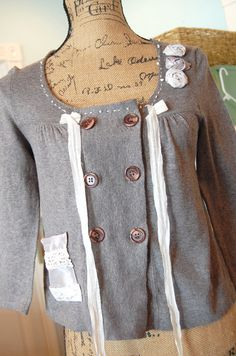 Grey Cotton Top Womens Clothing Upcycled Size by OfLinenandLace, $38.50