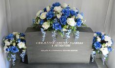 Rose Bush & Daisy Cemetery Flower Headstone Saddle Plus Matching Vase Bushes