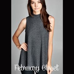 Sleeveless Mock Turtleneck A great pair of leggings or jeans needs this semi-loose fit, sleeveless, mock neck top. This top is made with medium weight, brushed wide ribbed knit fabric that has a very soft fuzzy texture, drapes well and is warm. This fabric has great stretch as well. Color: Charcoal. Tops