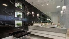 Pia de porcelanato para banheiro grande e sofisticado Interior Exterior, Interior Design, Tadelakt, Ideas Hogar, Boutique Homes, New Home Designs, Classic House, Contemporary Decor, Luxury Homes