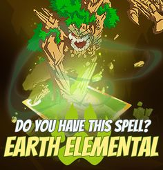 "SPELLS GALLERY: EARTH ELEMENTAL ""Earth is peace. You don't want to break it."" Tacul Voh, royal hunter #game #rpg #fantasy #dragons #mages #magic #spells #warlock Play now! App Store / iOS: https://itunes.apple.com/app/war-of-warlocks/id799551713?mt=8 Google Play / Android: https://play.google.com/store/apps/details?id=air.com.greengeniegames.warlocks"