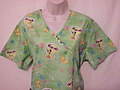 Baby Looney Tunes Tweety Bird Scrub Sz M Medium 6960 WB Green Hawaiian Luau Lei #BabyLooneyTunes