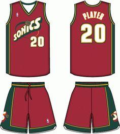 8b4f5920 Seattle Supersonics Alternate Uniform 1998-2001 Basketball Is Life,  Basketball Uniforms, School Jersey