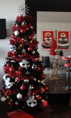 black christmas tree decorations 2013 black christmas tree red glitter decorations no masks though - Black Christmas Tree