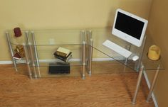 Modern Clear Glass and Aluminum L-shaped Corner Desk with Optional Configuration Buy Office, Home Office Desks, Office Furniture, L Shaped Corner Desk, Big Desk, Glass Desk, Storage Solutions, Clear Glass, Modern