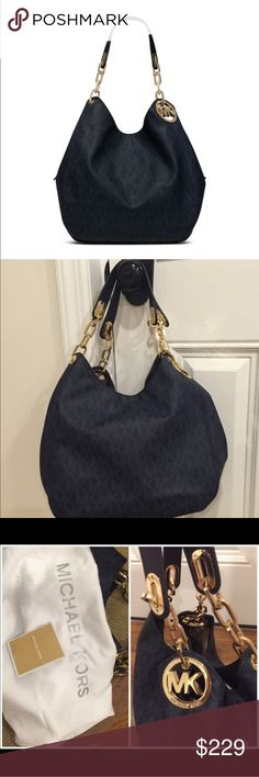 1 DAY SALE! Michael Kors Navy Fulton large hobo In perfect, pristine condition. Adult owned. Non smoking. Only used for about a week. Color is Baltic blue. (Navy) Authentic and comes with dust bag. Michael Kors Bags Hobos